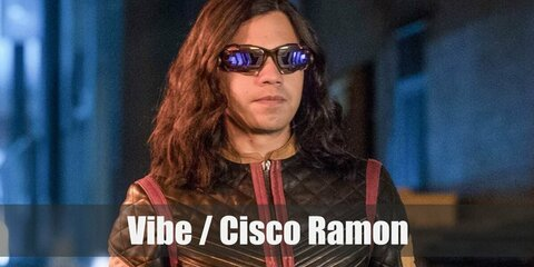 Cisco Ramon's costume is a black leather jacket, black leather pants, red and black shoes, polarized sunglasses, and black fingerless gloves.
