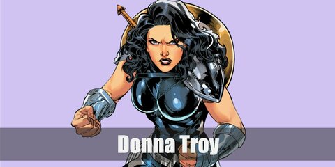 Donna Troy costume is an all-black outfit styled with a shoulder pad, belt, and boots. You can also add an arm guard to your Donna Troy costume to complete it.
