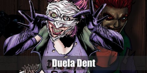 Duela Dent wears an orange corset and a purple cloth on the tail. She also has a garter belt,and long purple socks with brown pumps. On her shoulders is a shoulder pad and purple gloves. She has green hair with a purple top hat and she also wears heavy make-up.