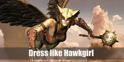 Hawkgirl wears a wing-shaped mask, yellow strapless top, green tight pants topped with red shorts, a black belt, red high boots, and a pair of wings.