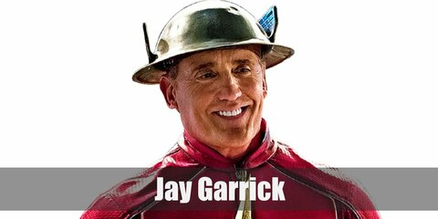 Jay Garrick's costume is his iconic red Flash jacket, blue leather pants, red knee-high boots, and his signature Flash helmet. You can say that Jay Garrick was the former Flash before Barry Allen.