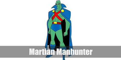Martian Manhunter costume is a blue cape, blue trunks, and boots. He has green skin and a red strap all over his torso.