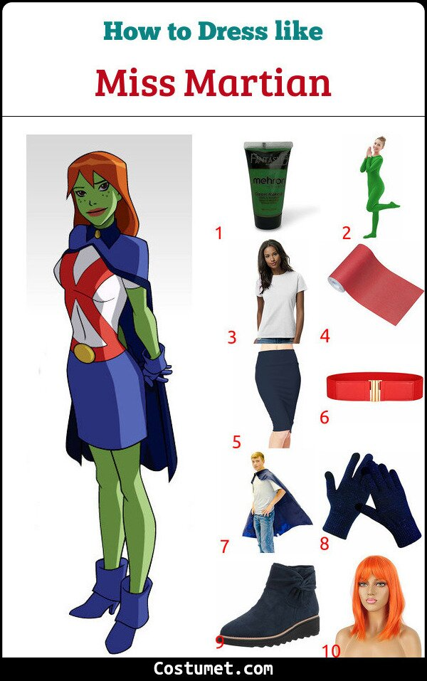 Miss Martian Costume for Cosplay & Halloween