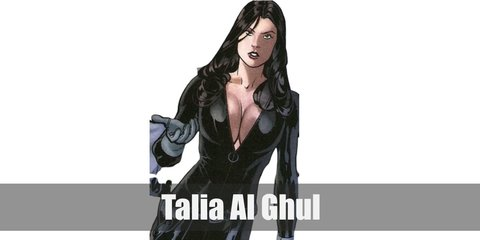 Talia Al Ghul costume is a sleek, black cat suit, long grey gloves, and grey boots.