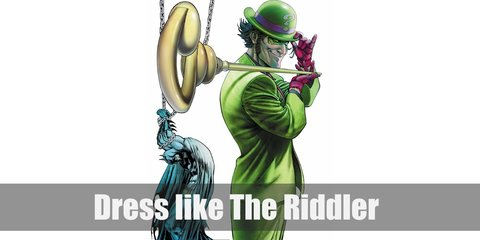 The Riddler costume is wearing a green business suit with question marks all over, a green bowler hat, purple gloves, and his golden question mark scepter.