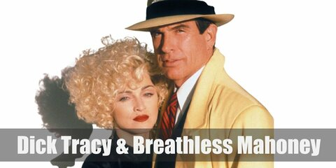Dick Tracy's costume can be done with a yellow over coat on top of a vest, white shirt and tie. For Breathless Mahoney' costume, get a black dress and a short blonde wig.