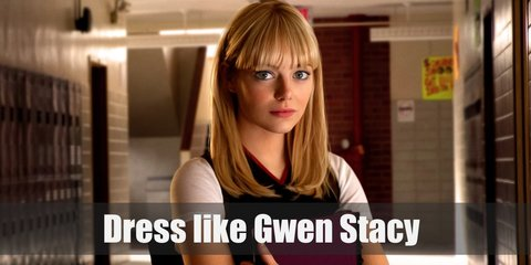 Gwen Stacy casual costume is a printed purple blouse and skirt. She also wore fishnet stockings and boots.