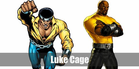 Luke Cage's costume is his classic comic look composed of a yellow long-sleeved, collared shirt tucked in a pair of blue tights, yellow knee-high boots, a chrome head band, a chain belt, and silver arm guards; he is also known for his modern outfit composed of a yellow compression shirt, black pants, black knee-high boots, a silver belt, black arm bandages, and silver arm guards.