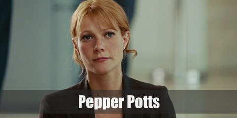 Pepper Potts's costume is a white button-down shirt, a black blazer, a black pencil skirt, and a Bluetooth earpiece.