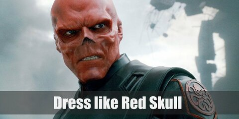 Red Skull costume is a black leather trench coat with the Hydra sign on it, a belt with the Hydra buckle, black pants, black gloves, black leather boot.
