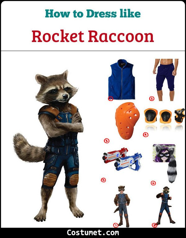Rocket Raccoon Costume for Cosplay & Halloween