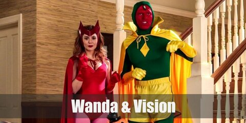 Wanda & Vision's costumes are pink tights, a red bodysuit, red boots, red gloves, red cape, and Wanda's iconic headpiece, and a green full bodysuit, yellow gym shorts, yellow socks, a yellow cape, and red face paint.