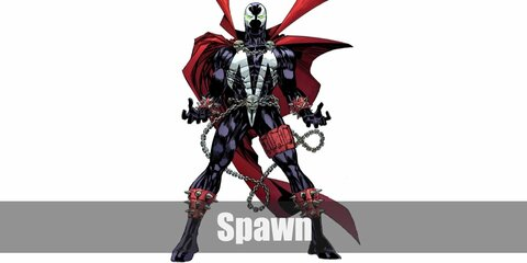 Spawn's costume is a black bodysuit with white details, a red cape, a black and white mask, and chains.