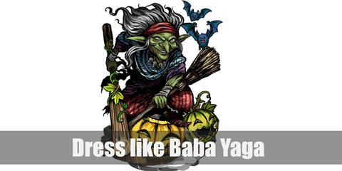 Baba Yaga costume is a black medieval tunic topped with a long maxi dress, a head scarf in Russian style, a skull necklace, and chicken feet shoes.