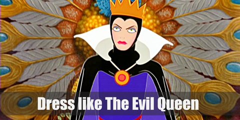 Evil Queen wears a purple dress topped with a purple cloak with high collar, a crown, a rope belt, and black high heels.