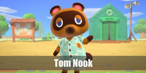 Tom Nook in Animal Crossing costume is his signature leady shirt and shorts. Then wear a raccon dog mask or beanie to complete the costume.