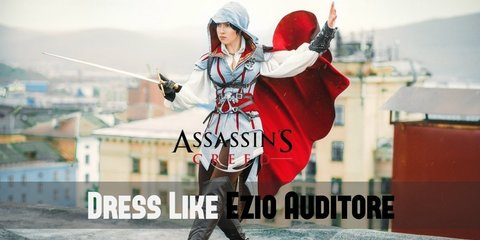 Ezio wears a white, collared tunic underneath a silver-white vest, loose dark brown pants, and knee-high leather boots.