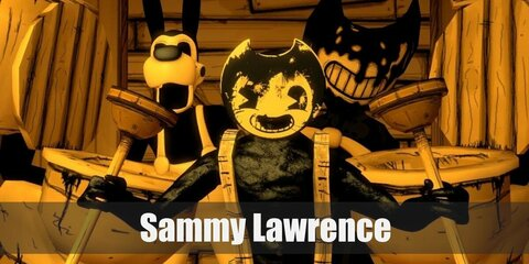 Sammy Lawrence's constume consists of a black long-sleeved top paired with yellow pants with suspenders. You can also wear his signature mask and carry a toy axe, too. Complete the costume with black gloves and boots.