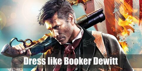 Although he has partial Native American descent, he never embraced it. Booker Dewitt wears three layers of shirts, a striped pair of pants, and a red scarf.