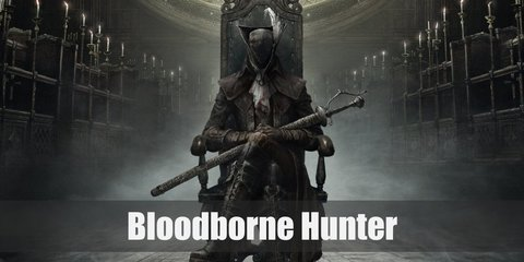 Get the Bloodborne hunter's costume by wearing a long black coat. Top it over a white turtleneck and black vest. Decorate the coat with arm guards.