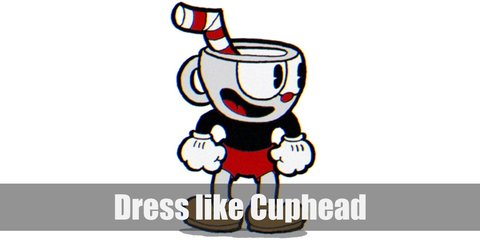 Cuphead has a white cup with a red-striped straw for a head. He wears a black long-sleeved shirt, red shorts, red shoes, and white cartoon gloves. Mugman is the same except he's color blue.