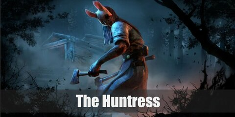 The Huntress' costume is a white puffed sweater, a red corset, a brown leather harness, denim capri pants, a blue sarong, and a white rabbit face mask.