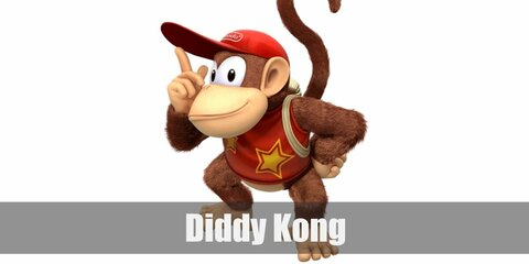Diddy Kong's costume is a moneky onesie, a red tank top, monkey feet slippers, a red Nintendo cap, and a khaki backpack.