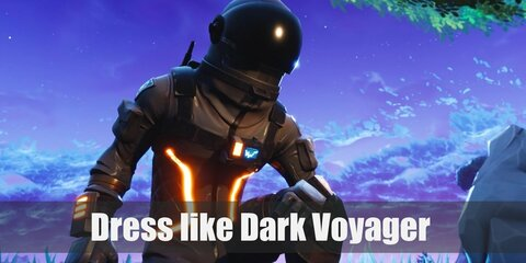 Dark Voyager wears a black jumpsuit with glowing orange light, black gloves, a harness, a space helmet, leg straps, and black space boots.