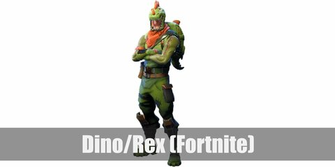 Dino (Rex)'s costume is a green long-sleeve shirt, green pants, green combat boots, brown and green tactical gear, a green dinosaur backpack, and a green T-Rex mask.