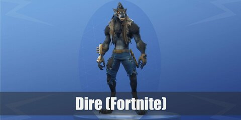 Dire's costume is a ripped shirt, a ripped jacket, ripped shorts, and a wolf face