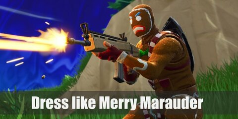 Merry Marauder wears a brown shirt with green bow tie, red gloves, a brown full-head ginger bread mask, brown pants, a brown belt, and red boots.