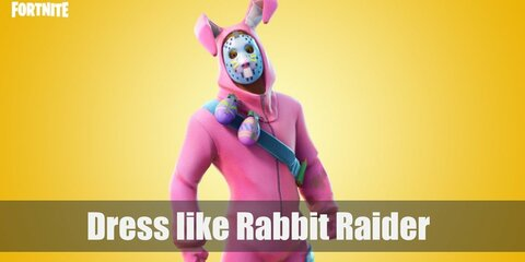 Rabbit Raider wears a pink full-body rabbit costume/pajama, pink fluffy rabbit shoes, a blue mask, a blue cross body belt with Easter egg grenades, and an upper leg pad.
