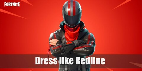 Redline wears a plain black tank top, leather racing pants, biker gloves, a red armband, a racing helmet with two red stripes, a black leather belt, and black leather boots.