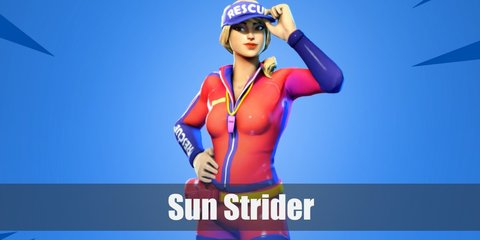 Sun Strider's costume involves a red or dark pink rash guard and shorts, yellow belt, and a visor. Cop a blonde wig, a whistle, anklets, and flip flops to complete the look.