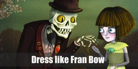 Fran Bow costume is a pale yellow dress with a light blue bow in the middle of her chest, black and white stockings, and brown boots.