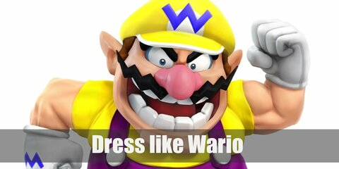 Wario's outfit looks very much like Mario's and Luigi's except her prefers the color yellow. He wears a yellow sweater, a pair of purple overalls, black sneakers, a yellow cap, and white gloves.