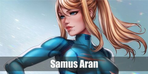 Samus Aran's costume is a shiny blue overall and a blonde wig. Carry a grey toy gun, too!