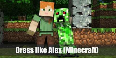 Alex (Minecraft) costume is a bright green shirt with a brown belt around the waist, rust-colored pants and a pair of black boots. Alex can wield weapons like a pickaxe or sword.
