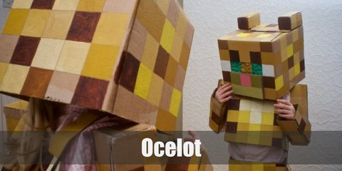Ocelots costume is bright yellow with other varying shades of yellow throughout its pixelated body. It has two small rectangular blocks acting as its ears on top of its head.