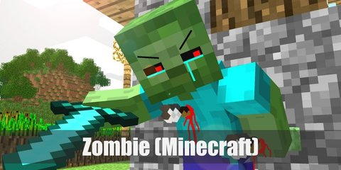 A typical zombie from Minecraft is has a green block head and a green body. It wears a light blue shirt and blue pants.