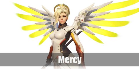 Mercy's costume can be replicated with a Mercy-inspired hoodie and white shorts with black boots. Then accentuate the costume with wings, an orange loin cloth, and a golden forehead guard.