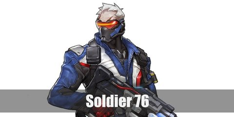 Soldier 76 costume is a special jacket with his 76 number printed at the back. He wears black pants with cargo inspiration and holsters as well as shin guards. He carries his signature gun and has white hair, cyclops glasses, and face mask.
