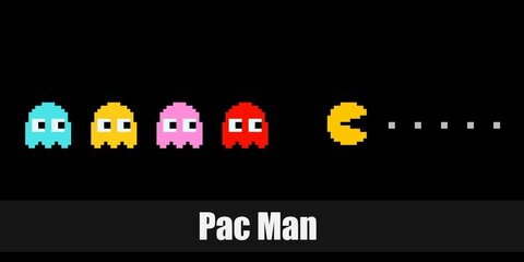 Pac-Man's appearance is a yellow circle, where as all four antagonists share the classic ghost look in different colors: Blinky is a red, Pinky is pink, Inky is blue, and Clyde is orange.