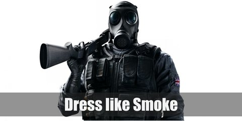Smoke (Rainbow Six Siege) costume is tactical from head to toe, literally. Smoke has on black cargo pants, a tactical vest, black gloves, black boots, and a black gas mask.