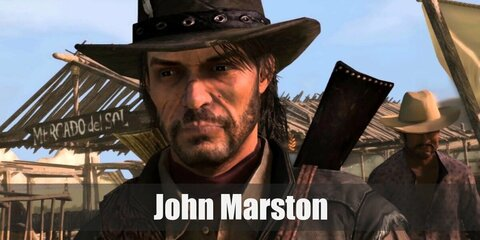 John Marston's costume is a white button-down long-sleeved shirt, black pants, a denim vest, black gloves, black boots, and a black square cowboy hat.