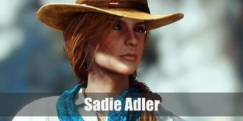 Sadie Adler's costume is a white button-down shirt, denim pants, brown boots, a teal scarf, a cowboy hat, and a waist holster with two pistols on each side.