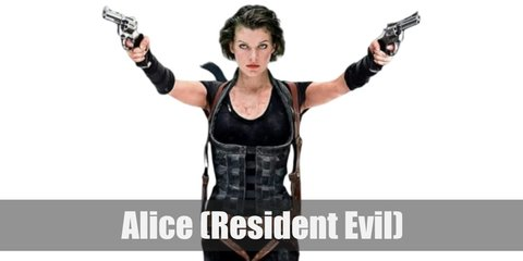 Alice from Resident Evil costume is a tight black shirt, black tights, black boots, and a brown shoulder holster.