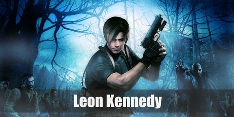Leon Kennedy's costume is a white long-sleeved undershirt, a blue police polo, blue slack, black fingerless gloves, elbow pads, a police vest, and a thigh holster. Be brave, serious, and willing to be a protector like Leon Kennedy.