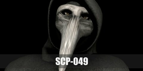 SCP-049 plague doctor costume is a vintage plague mask and a hooded cloak, pair up with black shoes and gloves.
