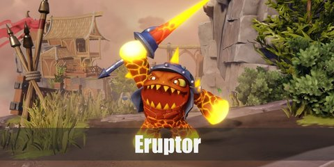 Eruptor is a lava-monster carved from molten lava and rock. He has cracks all over his body and oozes lava from his hands and feet.